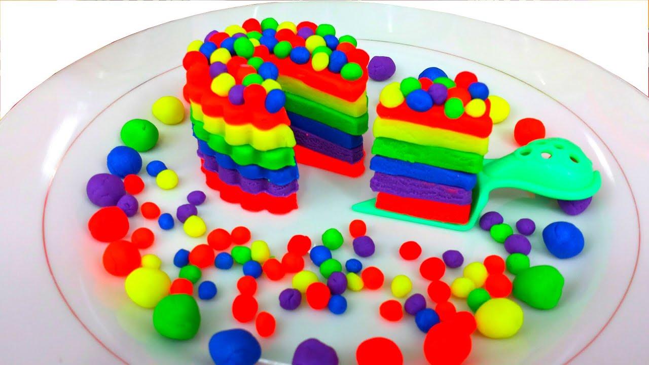 Play Doh How To Make Rainbow Dippin Dots Birthday Cake Youtube