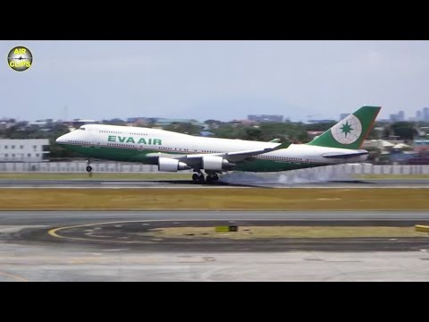 EVA Air B747-400 short-haul service Manila-Taipei in Business Class  [AirClips full flight series]