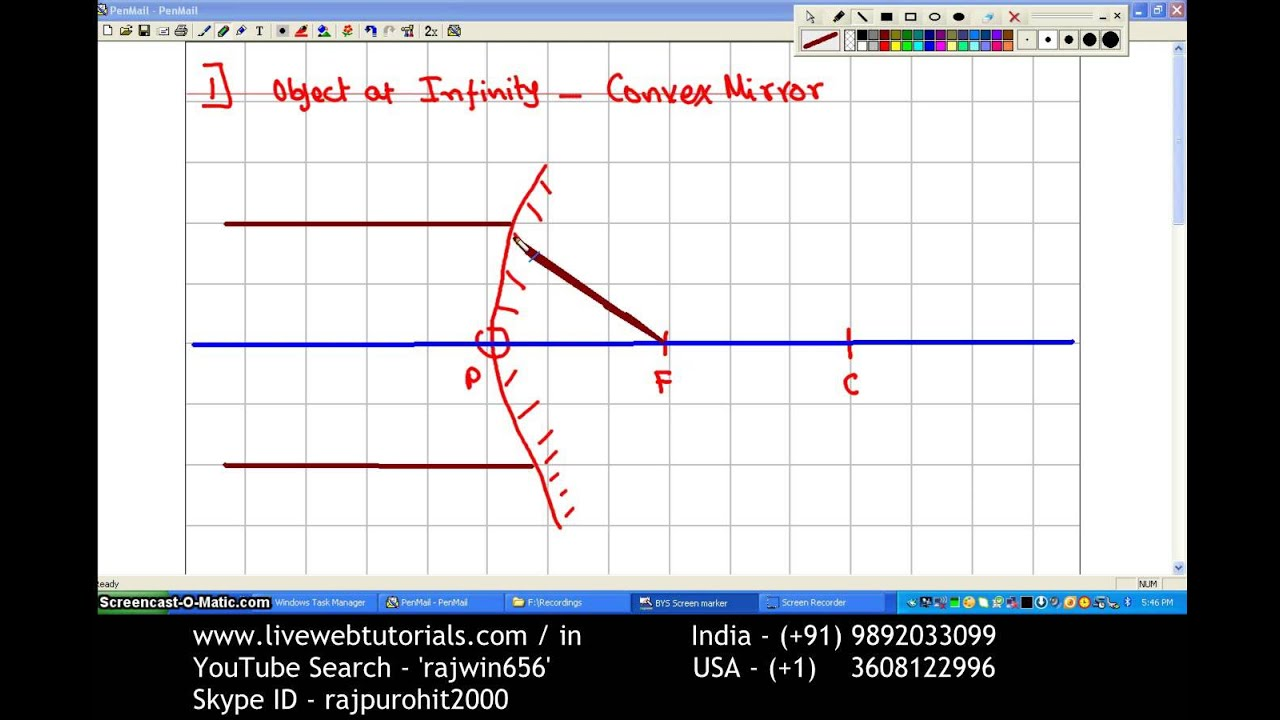 Ray Diagram Convex Mirror 1 Object At Infinity