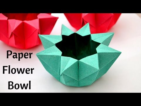 Easy Paper Flower Bowl   Origami   Paper Bowl   Craftsbyanu