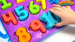 Repeat youtube video Learn Numbers for Toddlers Teach Counting with Genevieve and Cookie Monster on the Go Numbers Toy!