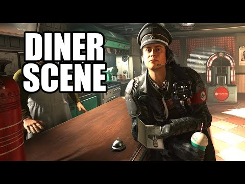 WOLFENSTEIN 2 The New Colossus - Full Diner Scene / Roswell