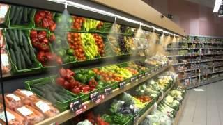 Система туманообразования для витрин(Работа системы увлажнения (туманообразования) в одном из супермаркетов., 2015-07-29T07:25:08.000Z)