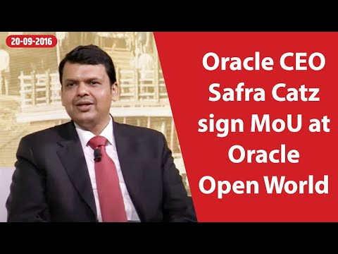 CM Devendra Fadnavis & Oracle CEO Safra Catz sign MoU at Oracle Open World
