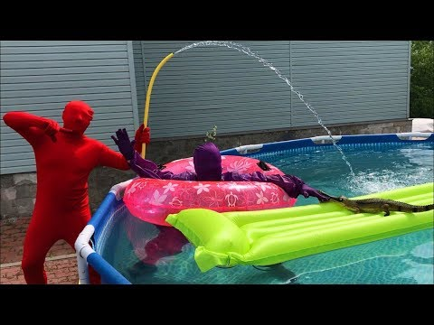 Purple Fat Man swimming in Pool & Red Man on Chevrolet Camaro VS Crocodile for Kids