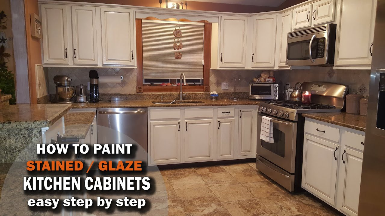 How To Paint And Glaze Kitchen Cabinets Over Stained Wood Youtube