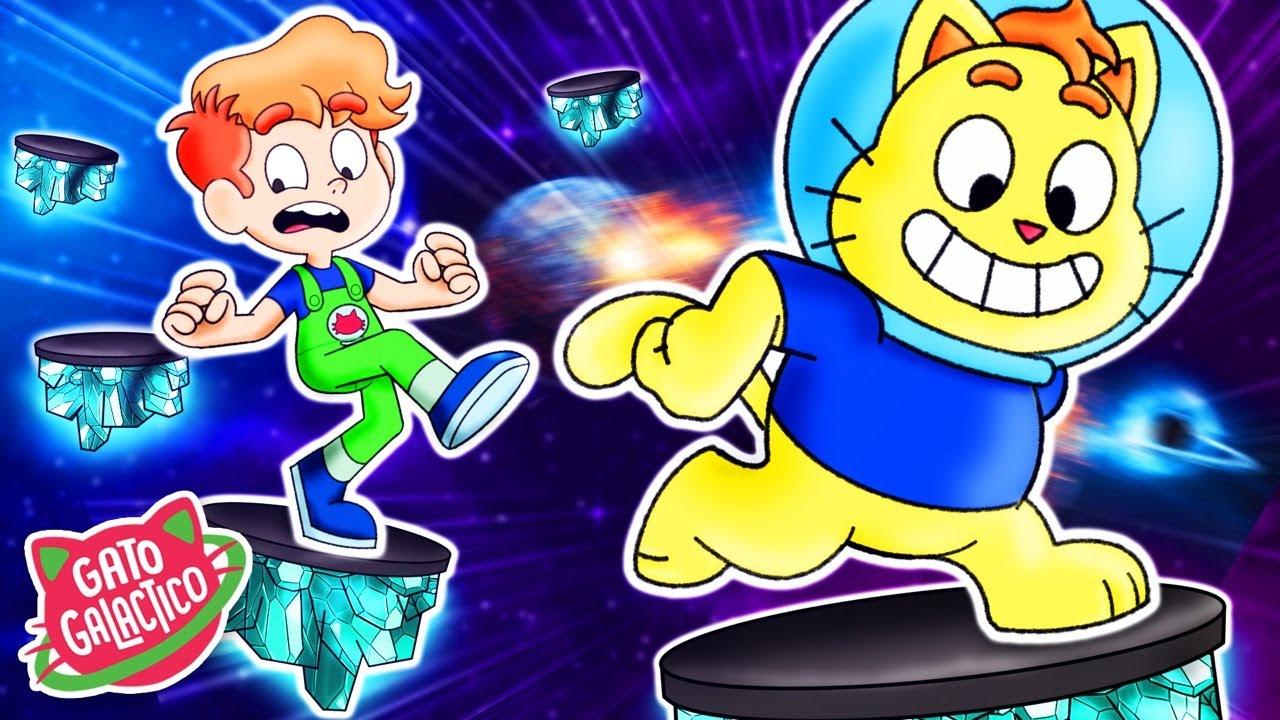 ASTRO VS RONI NA CORRIDA ESPACIAL !!! Roblox em Desenho Animado do Gato Galactico