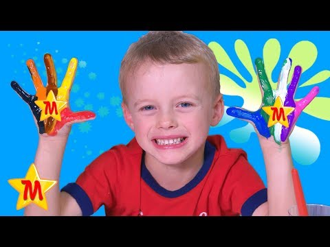 Finger Family Song Learn Colors by Painting Hands with Paint Brushes Singing Nursery Rhyme Kids Song