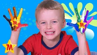 Painting Hands with Paint Brushes Fun Video For Kids