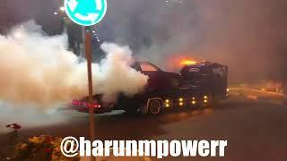 Harun Taştan çekicinin üstünde lastik yakıyor Nissan Supra s14