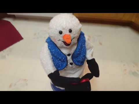 gemmy animamated snowflake spinning snowman (blue vest)