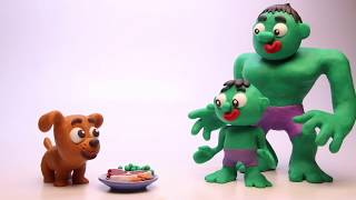 ENJOY THE BBQ SUPERHEROES BABY! Play Doh Stop Motion and Cartoons For Kids 💕 Superhero Babies