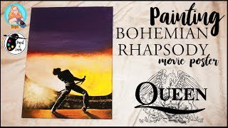 Painting Bohemian Rhapsody Movie Poster | Freddie Mercury Tribute | Queen Art | Mis