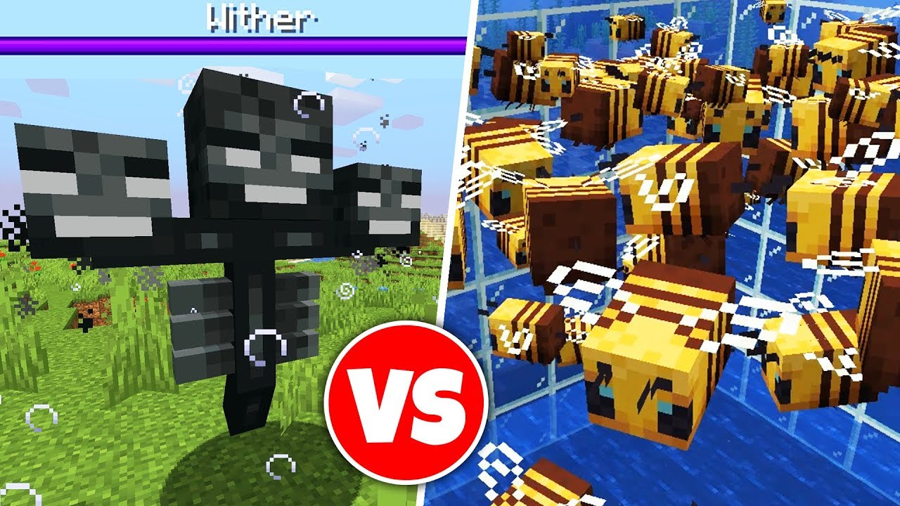 100 BEES vs WITHER BOSS in Minecraft thumbnail
