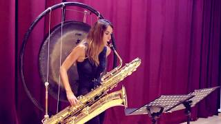 Ancestral by Thierry Alla for bass saxophone, tam tam and electroacustic music