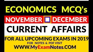 ECONOMICS CURRENT AFFAIRS   NOVEMBER & DECEMBER   2018   PDF   NOTES   MCQ