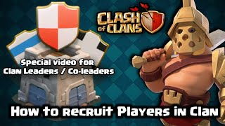 coc | How to recruit Players in Clan | find full details about players | Walker 456 | Clash of clans