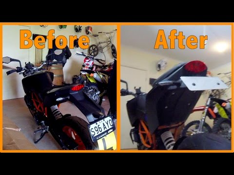 KTM Duke Custom short fender, licence plate holder 125 200 390 tail ...