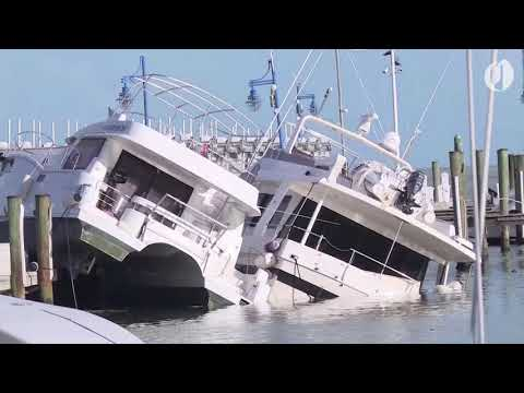 Hurricane Irma destroys boats in Miami
