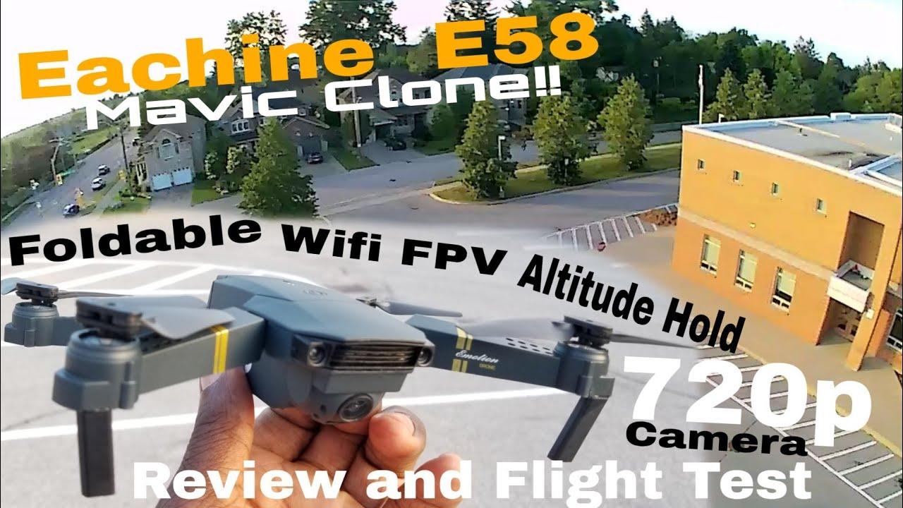 Download Eachine E58 (dji Mavic Clone!!) Review and Test Flight!! Foldable, 720p Cam, Wifi FPV drone
