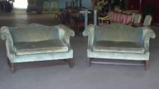 Pair Harden Mahogany Camelback Settees Sofas