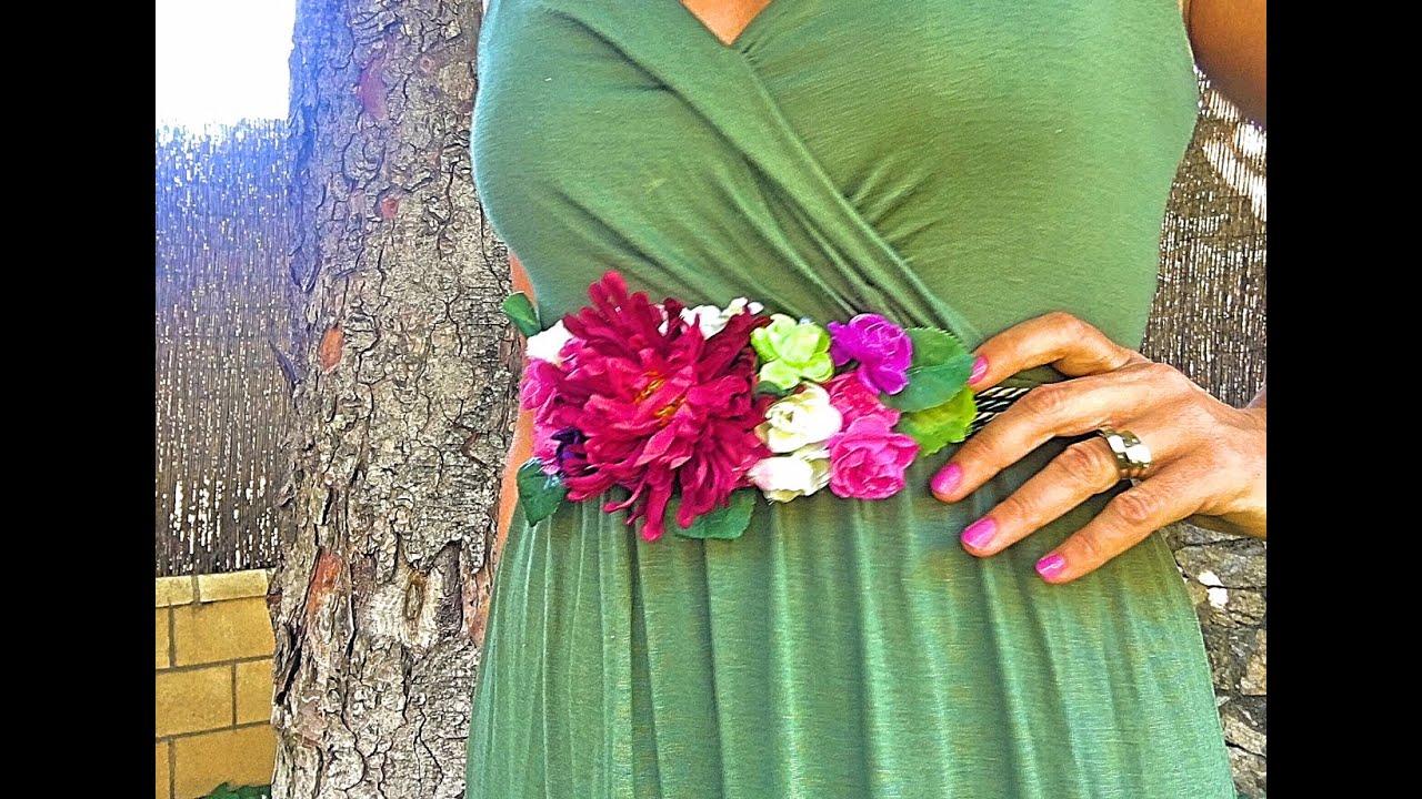 Cómo hacer un cinturón de flores fácil . DIY - YouTube 873f9049b635