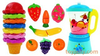 Best Learning Colors Video Ice Cream Toy Blender Learn Fruits with Wooden Velcro Toys for Kids
