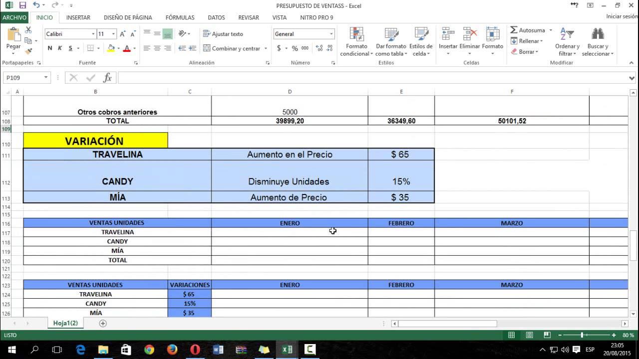 ejemplo de presupuesto de ventas youtube