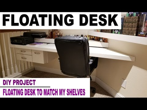 DIY Floating Desk Project - Custom Wall Desk Overview in 4K UHD Video