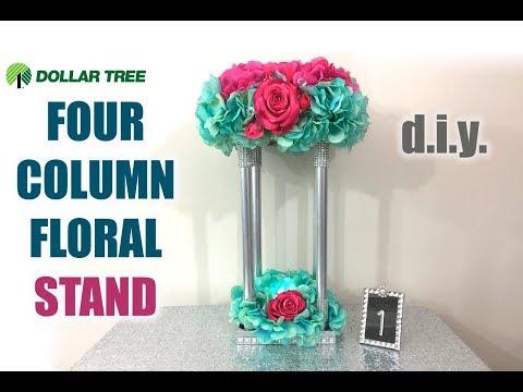 DIY Dollar Tree 4 Column Floral Centerpiece Stand