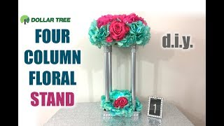 DIY Dollar Tree 4 Column Floral Centerpiece Stand