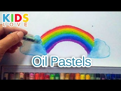 How to color rainbow with oil pastels l kids love