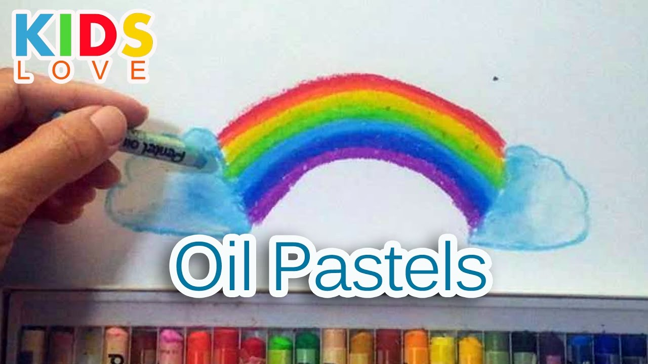 How To Color Rainbow With Oil Pastels L Kids Love Youtube