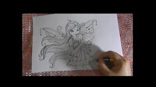 How To Draw Bloom Enchantix | Speed Drawing | Winx Club Bloom Sketching Tutorial