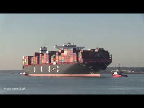 "UASC Container Ship ""AL Jasrah""  early arrival Southampton Container Port 27/06/18"