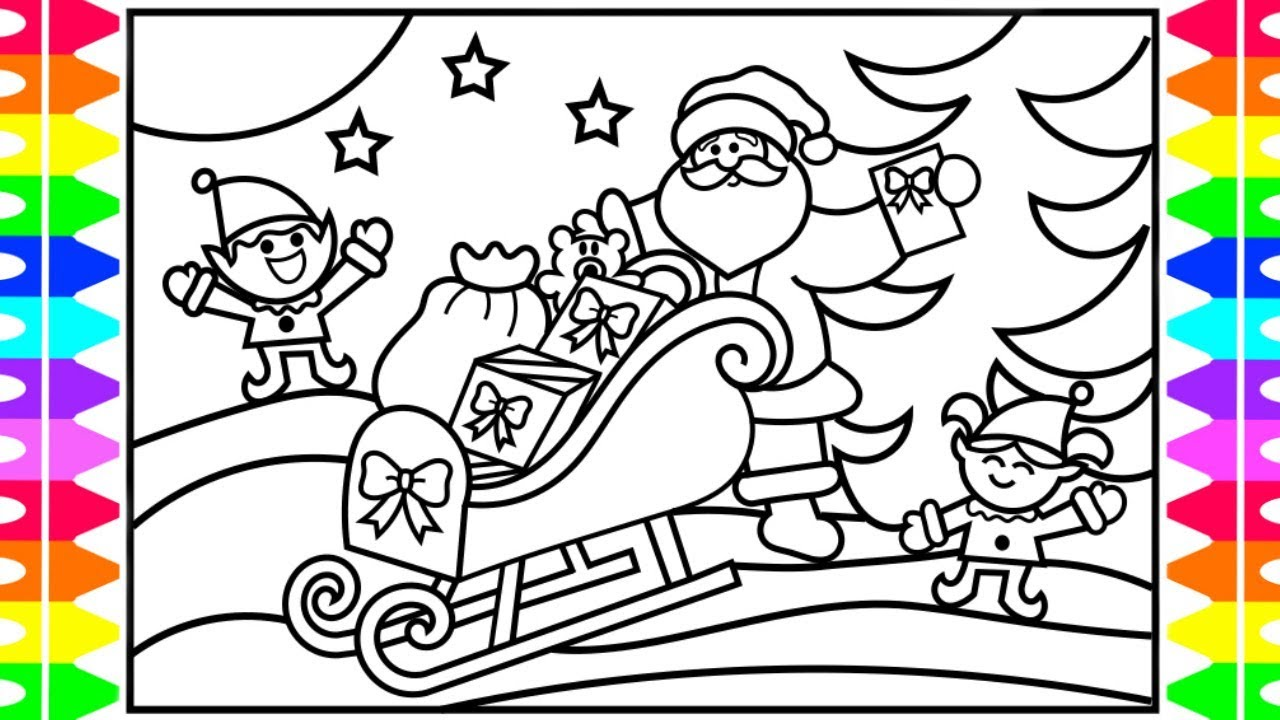 how to draw santas sleigh and reindeer easy step by step