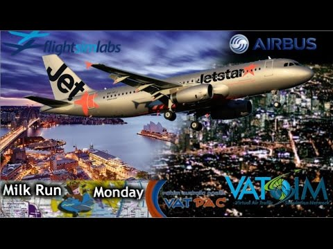 FSlabs A320 Sydney - Melbourne on Vatsim in the dark.