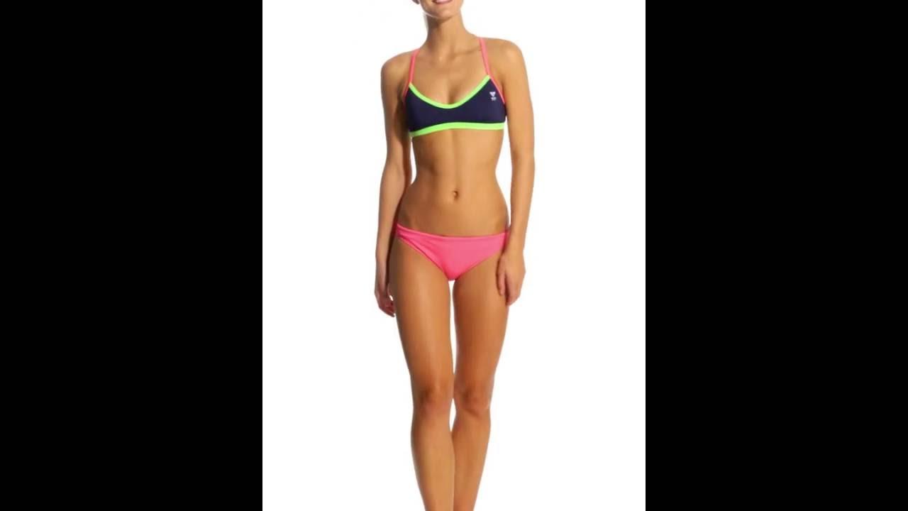 e4e6b5f062 TYR Solid Brites Pink Crosscutfit Bikini Swimsuit Top