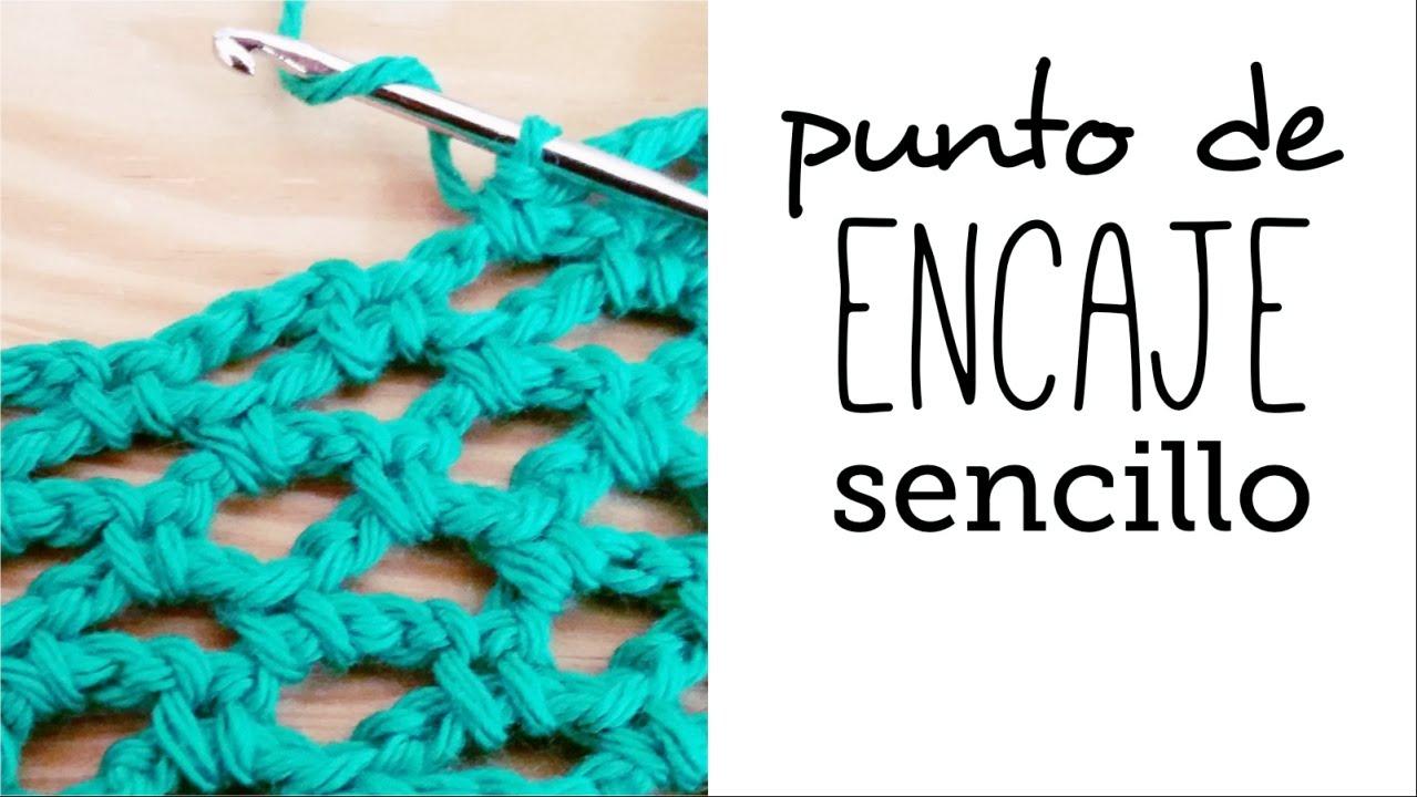 Cómo tejer PUNTO de ENCAJE (red o calado) sencillo a Crochet - YouTube
