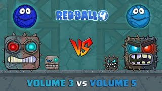 RED BALL 4 - '2 BLUE BASKET BALL' vs VOLUME 3 vs VOLUME 5 Walk-Through with BOSS FIGHTS