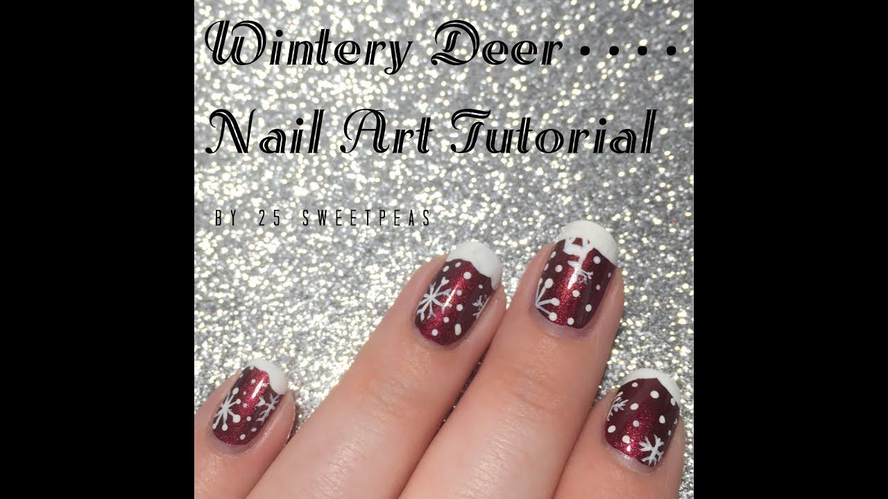 Wintery Deer Nail Art Tutorial - YouTube