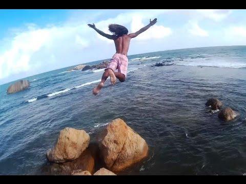 Jumping off Old Dutch Fort.   Galle, Sri Lanka