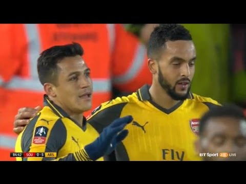 Theo Walcott Hattrick Goal - Southampton vs Arsenal 5-0 //FA CUP 2017
