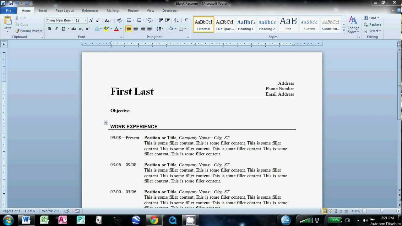 how to do a resume in word