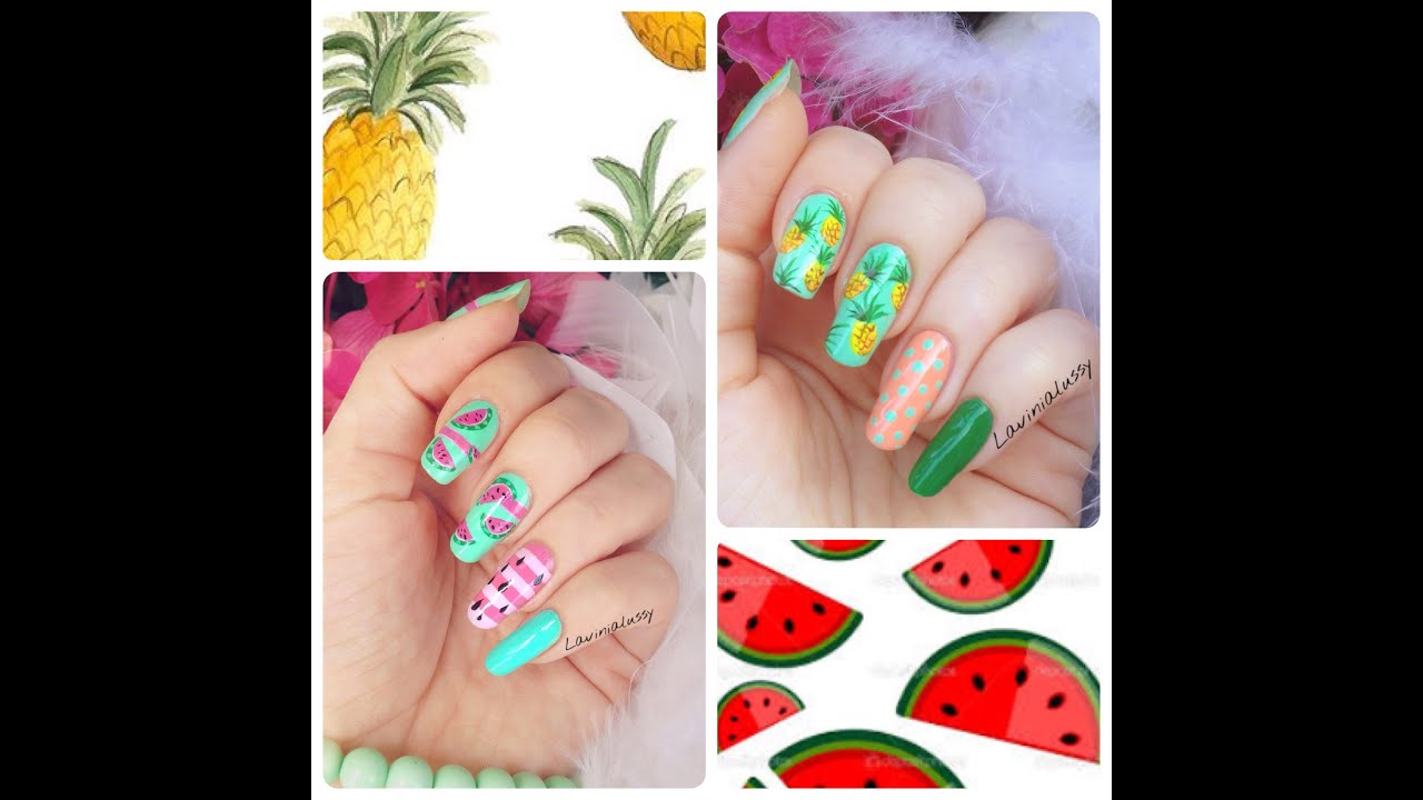 Summer fruit nail art designs ANANAS vs WATERMELON - YouTube