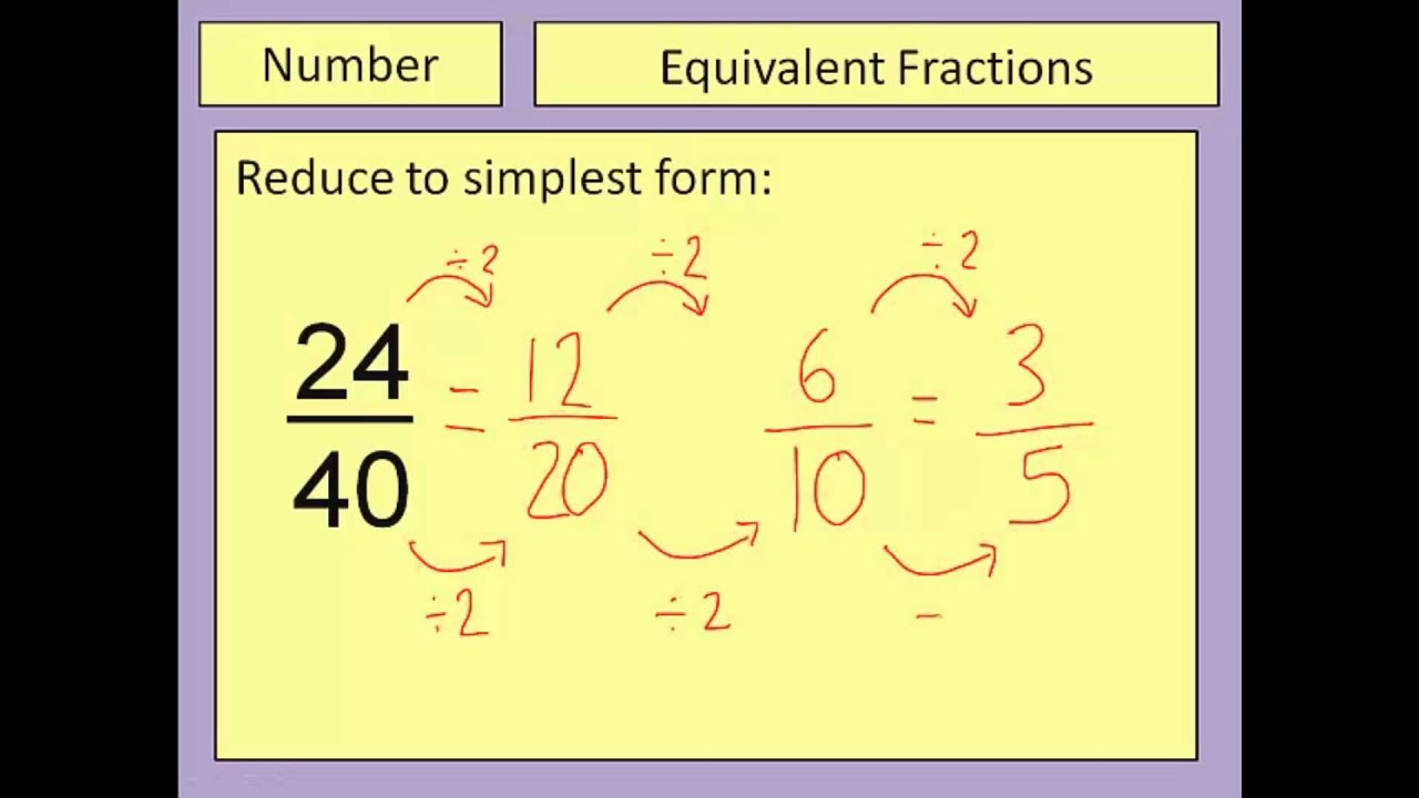 Equivalent Fractions And Simplest Form
