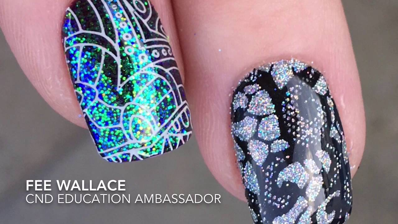 Shellac Nail Art Stamp First Then Apply Lecent Glitter Youtube