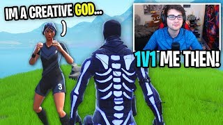 I CARRIED a SOCCER SKIN and 1v1'd him after... (he's a CREATIVE WARRIOR in Fortnite)