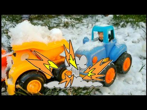 Синий трактор и грузовичок. Детские мультики про машинки. Машинки игрушки. Мультики для детей.
