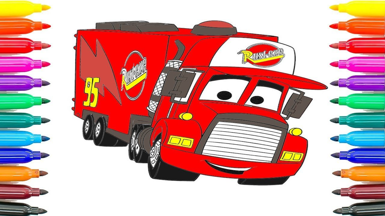 Car Truck Coloring Pages : How to draw mack cars coloring pages for kids how to paint cars